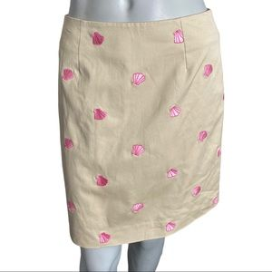 Lilly Pulitzer Pink Embroidered Shell Skirt Size 4